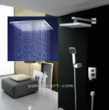 Luxury 8-inch Square 3 Color LED Shower Head Wall Mount Rainfall Bathroom Double-function Shower Faucet Set , Chrome Ys-7572