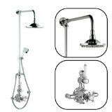 Hudson Reed Thermostatic Twin Shower Faucet Valve Set With Divertor, Grand Rigigd Riser Kit, Round Rainfall Head & Handspray - Chrome & Ceramic Finish