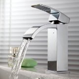 KES L3109A Single Handle Waterfall Bathroom Vanity Sink Faucet with Extra Large Rectangular Spout, Chrome