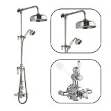 Twin exposed thermostatic shower Faucet valve with Victorian rigid riser kit with divertor and 8 inch head