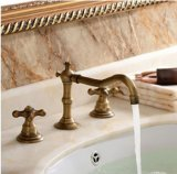 Rozinsanitary Classical Widespread Bathroom Sink Faucet Antique Brass Dual Handle Mixer Tap