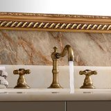 Lightinthebox® Deck Mount Contemporary Bathroom Two Handles Long Spout Antique Brass Bathroom Sink Faucet Bathtub Mixer Taps