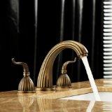 Antique Brass Finish Widespread Bathroom Sink Faucet