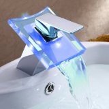 Lightinthebox® Deck Mount Modern Single Handle Widespread Waterfall Bathroom Vanity Vessel Sink LED Faucet Chrome Bath Tub Mixer Taps Bathtub Faucets