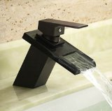 Rozinsanitary Oil Rubbed Bronze Waterfall Centerset Glass Bathroom Sink Faucet Mixer Tap
