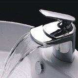 Lightinthebox® Contemporary Deck Mount Single Handle Widespread Waterfall Bathroom Sink Faucet Chrome Bathtub and Bath Tub Mixer Taps