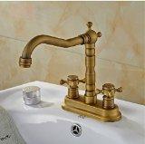 Rozinsanitary 4 Inch Centerset Antique Brass Bathroom Sink Faucet Dual Knobs Basin Mixer Tap