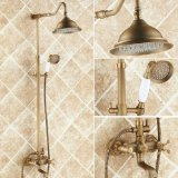 Rozinsanitary Antique Brass Bathroom Shower Faucet Set 8 Inch Shower Head + Hand Spray