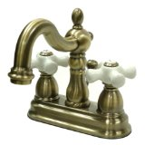 Kingston Brass KB1603PX Heritage 4-Inch Centerset Lavatory Faucet with Porcelain Cross Handle, Vintage Brass