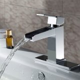 Solid Brass Contemporary Waterfall Bathroom Sink Faucet (Chrome Finish)