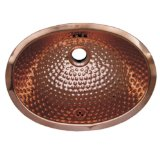 Whitehaus WH605CBM-PCO Oval 15 1/4-Inch Ball Pein Hammered Textured Undermount Basin with Overflow, Polished Copper