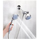 Home Basics 5-Function Twin Shower Massager, Chrome