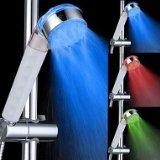 3 Colors Transparent Temperature Controlled LED Light Top Spray Shower Head Bathroom Showerheads