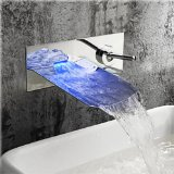 VDOMUS® LED RGB Single Handle Widespread Waterfall Copper Pull-Out Bathroom Faucet, Wall Mount Kitchen Sink Lavatory Faucet(Chrome)