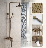 Rozinsanitary Elegant Antique Brass Bathroom Shower Faucet Set Tub Faucet 8 Inch Shower Head