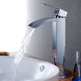 KES L3109B Soild Brass Bathroom Single Handle Waterfall Vessel Sink Faucet with High Spout Tall, Chrome