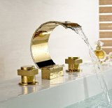 Widespread 3 Holes Waterfall Basin Faucet Gold Finish Bathroom Sink Mixer Tap