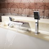 Lightinthebox® Deck Mount Ceramic Valve Contemporary Solid Brass Bathroom Bath Tub Faucet with Pull Out Handheld Showerhead Mixer Taps Chrome Finish Stainless Steel Shower System Lavatory Roman Tub Faucets