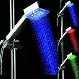 3 Colors Square Temperature Controlled LED Light Top Spray Shower Head Bathroom Showerheads with Chrome Coated