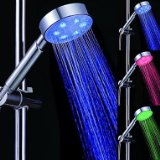 3 Colors Circle Temperature Controlled LED Light Top Spray Shower Head Bathroom Showerheads with Chrome Coated