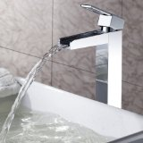 Lightinthebox Sprinkle® Solid Brass Deck Mount Widespread Waterfall Bathroom Sink Faucet Chrome Finish Tall Spout Bath Tub Faucet Lavatory Single Hole Roman Plumbing Fixtures One Handle Unique Designer Bar Faucets