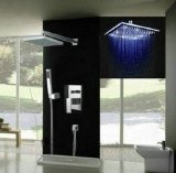 Luxury 10-inch Square 3 Color LED Shower Head +Valve+Hand Spray Bathroom Wall Mount Shower Faucet Set , Chrome Ys-7595