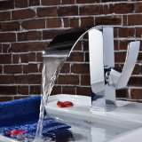 Sprinkle® Deck Mount Contemporary One Single Handle Widespread Waterfall Bathroom Sink Faucet Chrome Finish Vessel Sink Bathroom Basin Bath Shower Faucets Bathtub Mixer Taps Lavatory Plumbing Fixtures Ceramic Valve Included Vanity