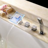 Lightinthebox® Color Changing LED Hydropower Waterfall Widespread Tub Faucet Chrome Finish Glass Spout Vessel Sink Three Handles with Pull Out Handhold Shower Head System Bathtub Mixer Taps Lavatory Plumbing Fixtures Ceramic Valve Included Sets