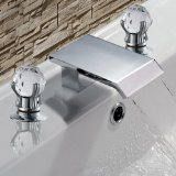 LightInTheBox Two Handle Widespread Waterfall Bathroom Faucet with Stainless Steel Spout, Chrome