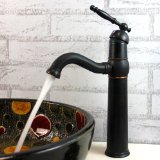 Traditional Style Single Handle Ceramic Valve Oil Rubbed Bathroom Sink Faucet Bronze Tall Spout Deck Mount Bath Tub Mixer Taps Bathtub Faucets Tall Curve Spout Bar Faucets Unique Designer Ceramic Valve Included Faucets Vessel Sink Taps