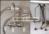 Brushed Nickel Gooseneck Clawfoot Tub Faucet Handshower Drain Supply