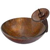 VIGO VGT023RBRND Kenyan Twilight Glass Vessel Sink and Waterfall Faucet Set, Oil Rubbed Bronze