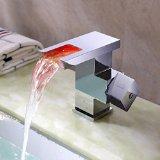 Lightinthebox® Single Handle Widespread Waterfall Bathroom Vessel Sink LED Faucet with Open Top Spout Tall Chrome Color Changing Single Hole Bathtub Mixer Taps Bath Shower Faucets Lavatory Plumbing Fixtures Unique Designer