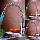 VDOMUS® Single Handle LED Lights Color Changing Pull-Down Spring Kitchen Sink Faucet with Swivel Spout, Chrome