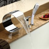 Ouku Deck Mount Contemporary Widespread Waterfall Bathtub Faucet with Handheld Shower Chrome Finish Unique Designer Plumbing Fixtures Curve Tall Spout Vessel Sink Faucets Shower System Single Handle Bath Tub Mixer Taps Lavatory Rainfall Shower Sets Ceramic Valve Included