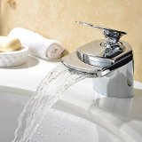 VAPSINT® Contemporary Very Solid Single Handle Deck Mount Waterfall Bathroom Vanity Sink Faucet,Polished Chome,not including Drain Pop-Up Waste