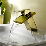 Lightinthebox® Deck Mount Contemporary Widespread Waterfall Bathroom Sink Faucet Ti-pvd Finish Gold Glass Spout Luxury Vessel Sink Faucets Vanity Lavatory Plumbing Fixtures Ceramic Valve Included Bath Shower Faucets One Handle Single Hole Faucets