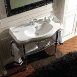 Retro Ceramic Bathroom Sink with Metal Structure Faucet Drilling: Single Hole