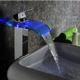 Water Power No Battery 3 Color LED Waterfall Faucet Bathroom Single Handle Basin Mixer Tap . Chrome 96s