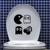 YBED Wall Stickers Wall Decals, Cartoon Games Bathroom Decor Mural PVC Wall Stickers , Black