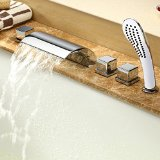 Aquafaucet Deck Mount Contemporary Widespread Waterfall Bath Tub Faucet with Arm Pull Out Handheld Shower Head Chrome Finish Three Handles Shower Bathtub Mixer Taps Bathroom Vessel Sink Faucets Lavatory Plumbing Fixtures Ceramic Valve