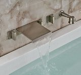 Rozin Brushed Nickel Wall Mounted Waterfall Tub Mixer Faucet Tap with Handheld Shower