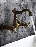 Antique inspired Bathroom Sink Faucet - Wall Mount (Antique Brass Finish)