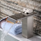 Yodel Single Handle Waterfall Bathroom Vanity Sink Faucet (Brushed Nickel)