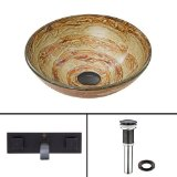 VIGO Mocha Swirl Glass Vessel Bathroom Sink and Titus Wall Mount Faucet with Pop Up, Antique Rubbed Bronze