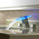 Yanksmart 3 Color Changing Water Power LED Waterfall Widespread Bathroom Sink Faucet (Chrome Finish) S5625