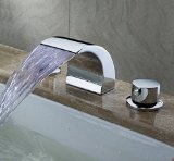 Greenspring Deck Mount Double Handles Led Waterfall Contemporary Widespread Bathroom Sink Faucet Chrome Finish Led Water Flow Powered Temperature Sensitive Shower Faucets