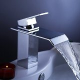Yodel Single Handle Waterfall Bathroom Vanity Sink Faucet with Extra Large Rectangular Spout Chrome Lavatory Widespread Mixer Taps