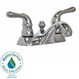 Glacier Bay Leonardo 4 in. Centerset 2-Handle Low-Arc Bathroom Faucet in Chrome