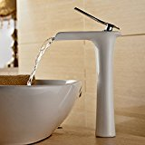 Beelee Single Handle Waterfall Spout Tall Bathroom Sink Faucet, Polished Chrome Finish/White Painting